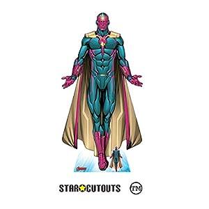 Star Cutouts SC1605 Ltd Vision Android Avenger Recorte de cartón de tamaño real perfecto para los fans de Marvel, coleccionistas y eventos, altura 187 cm ancho 96 cm, multicolor