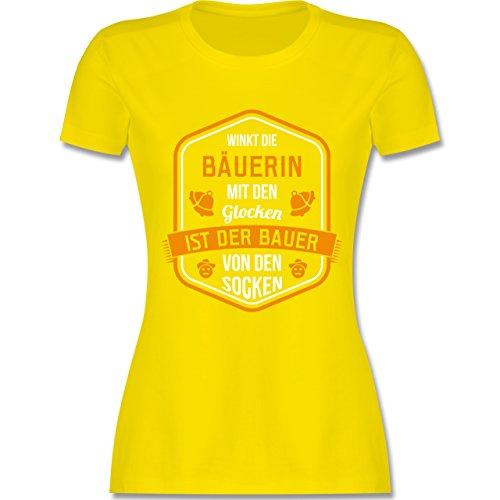 Landwirt - Bauernweisheit Glocken - tailliertes Premium T-Shirt mit Rundhalsausschnitt für Damen Lemon Gelb