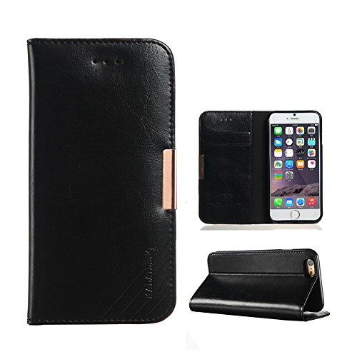 Funda iPhone 6 iPhone 6S, TMUSE Funda Piel Genuino para iPhone 6 / 6S, Suave Piel de Becerro Africano Carcasa de Piel Hecho a mano, Soporte Plegable, Estilo Libro, Billetera para Tarjetas, Cierre Magnetico - Negro
