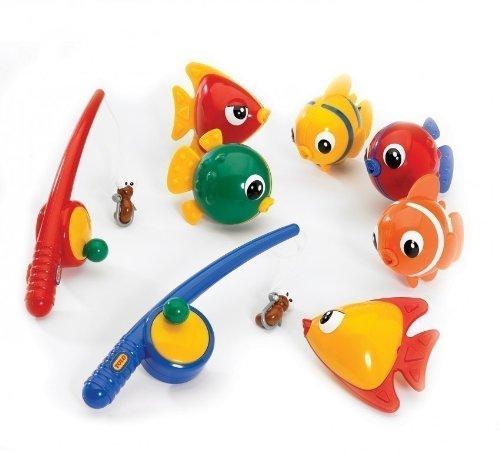 TOLO - Magnetisches Angel Set / 6 Fische und 2 Angelruten mit magnetischen Würmern als Köder / für Kinder ab 18 Monaten