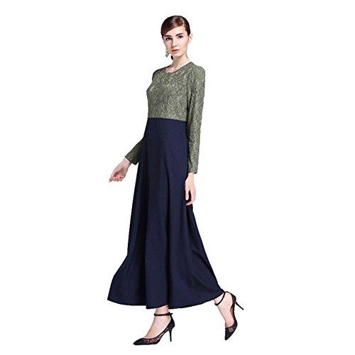 Haodasi Musulman Kaftan Islamic Abaya Tissu Manche longue Dentelle Patchwork Dress Vêtements Robes green