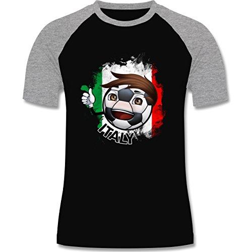 EM 2016 - Frankreich - Fußballjunge Italien - zweifarbiges Baseballshirt für Männer Schwarz/Grau Meliert