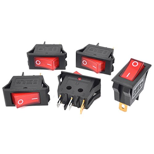 5Pcs AC250V 10A AC125V 15A Plattenmontage Rote Lampe Wippschalter (15a Lampe)