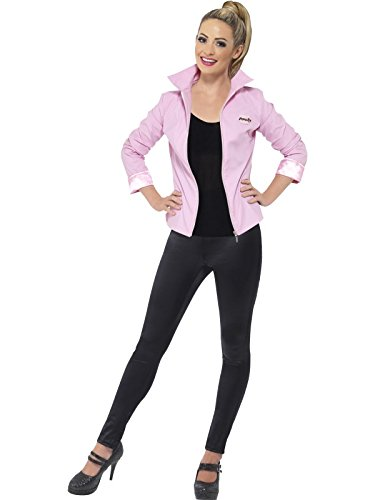 Party Ideen Grease Kostüm (Smiffys, Damen Deluxe Pink Ladies-Jacke, Jacke und Namensschild, Grease, Größe: L,)