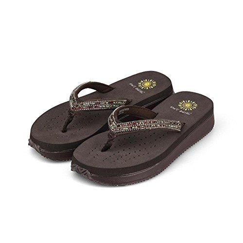 WANGXN Womens Flip Flops Sandalen Schuhe Sandalen High Heels Pantoffeln Schuhe Schwarz Braun , brown 5193 , 37 (Crew Espadrilles)