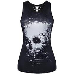 Mxssi Mujer Summer Sexy Casual Gothic Skulls Printed Rock Punk Chaleco Camiseta Top Camiseta Estilo 5 M