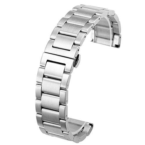 (JSDDE Uhrenarmbänder Edelstahl Silber Uhrenarmband mit Butterfly-Faltschließe Metall Uhr Armband 20mm 22mm Uhren Band (20mm))