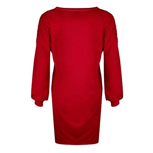Donna Vestiti ,litalily-Donna Moda Stampato Vestiti Da Sera Eleganti Corto Vestito Manica Lunga Rotondo Collo Abito Camicetta,Abito lungo a maniche lunghe con scollo tondo bordato Red