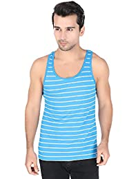 United Colors of Benetton Men's Cotton Vest (LM70I_Large_Sky Blue and Grey)-901