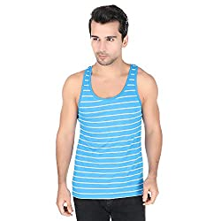 Undercolors Mens Cotton Vest (LM70I_Large_Sky Blue and Grey)-901