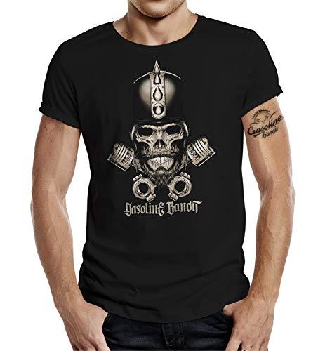 Gasoline Bandit Biker Hot-Rod Racer T-Shirt Skull Blackbeard ()