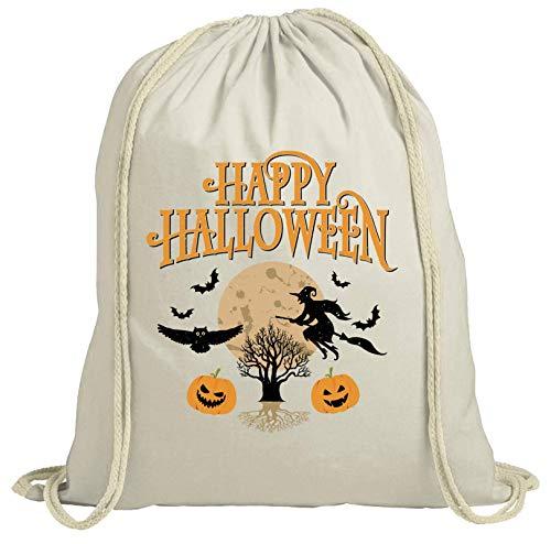 ShirtStreet Hexen Grusel Gruppen natur Turnbeutel Rucksack Gymsac Happy Halloween 2, Größe: onesize,natur (Kostüme Halloween Gruppe Für Coole)