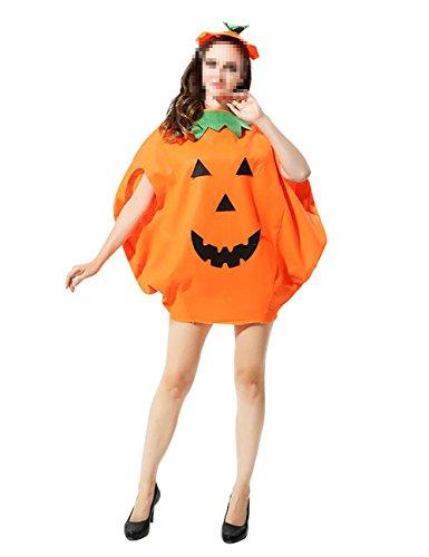 ShiyiUP Kürbis Kostüm mit Hut Umhang für Erwachsene und Kinder Halloween Karneval Fasching Cosplay (Kürbis Kostüm Für Erwachsene)