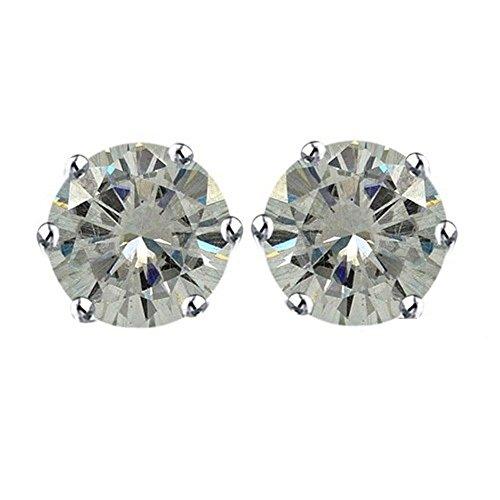Lilu Jewels taglio brillante rotondo farfallina Moissanite solitario orecchini in argento 925, placcato in platino (Taglio Rotondo Moissanite Solitaire)