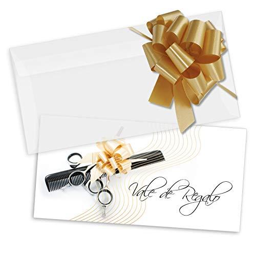 25 tarjetas de regalo de alta calidad + 25 sobres + 25 lazos con motivos para peluquería peluquero peluquera estilista portada afinada con brillo intenso. K9284E