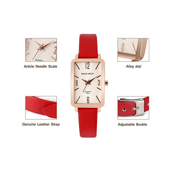 Ladies WatchesRectangular Rose Gold Case With Leather Strap Quartz Luxury Simple Casual DesignWhite Dial Fashion Dress Watches For Ladies