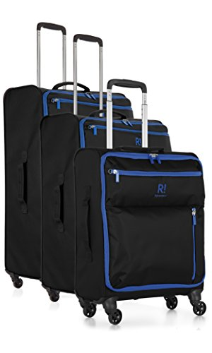 Revelation Weightless B2 Set of 3 Large/medium/cabin- Black 4 wheel Maleta, 77 cm, 88 liters, Negro (Black)