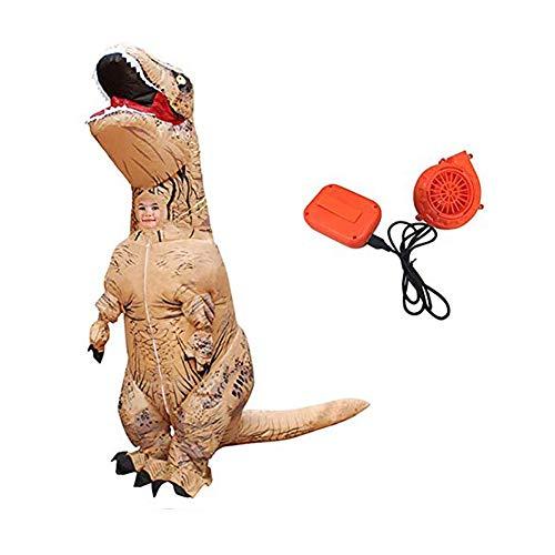 Aufblasbare World Jurassic Dinosaurier Kostüm - Puruitai Dinosaurier aufblasbare Kostüme Halloween Aufblasbares Kinderkostüm Party Cosplay Kostüm Erwachsene Jumpsuit, braun, Kid