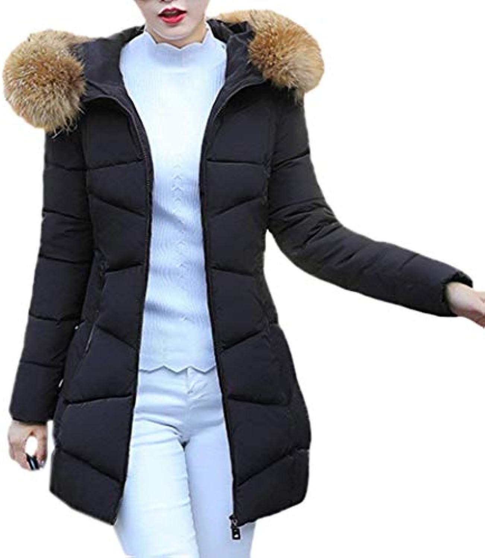 Laisla fashion Donna Invernali con Cappuccio in Pelliccia Piumini Elegante  Lunga Slim Fit Caldo Facile Elegante Piumini Addensare... 68a6cd 99ca109fc806