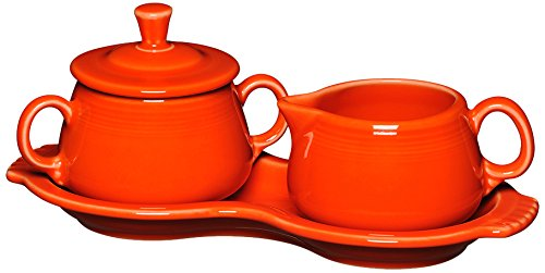 Fiesta Covered Creamer and Sugar Set with Tray, Poppy by Unknown Creamer Tray Set