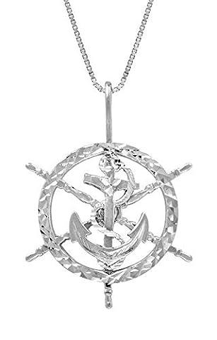 Ancre en argent sterling dans un bateau de roue–Collier Femme–Pendentif avec chaîne boîte 45,7cm