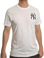 New Era Ne96424Fa16 Mlb Pop Bk Tee Neyyan - Camiseta manga corta-Línea New York Yankees para hombre, color blanco, talla XS