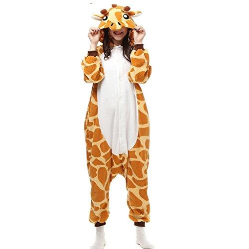 KiKa Monkey Jumpsuits Tier Cartoon Sleepsuit Karneval Cosplay Pyjama Erwachsene Kostüme Unisex Overall Pyjama (M, Giraffe) (Super Süße Mädchen Halloween Kostüme)