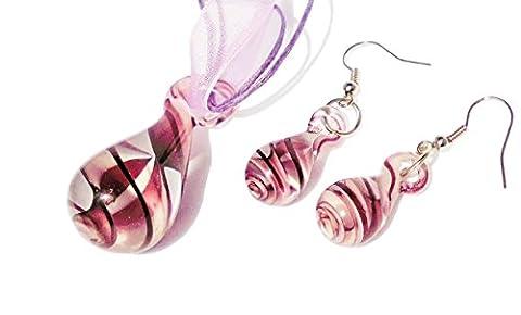 Parure de bijoux 3 pieces Femme verre de murano Pendentifs Parure Collier Pendentif et Boucles d'oreilles