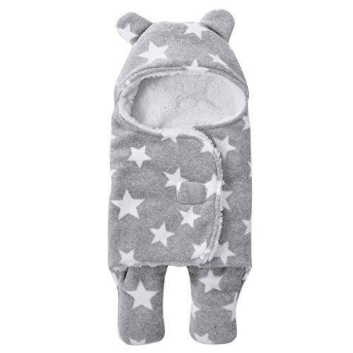 Baby Kuscheldecke, Baby Schlafsack Kuscheldecke Baby Decke Haube Neugeborene Wearable Decke Baby Badetuch Grau 65*75cm