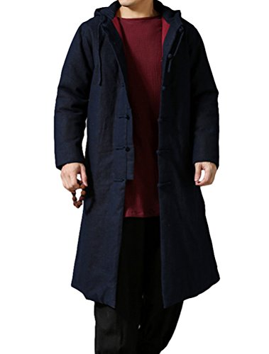 MatchLife Unisex Thicken Parka Frog-Button Mantel Style2-Navy Blau