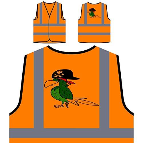 Böse Pirat Lustige Vogel Personalisierte High Visibility Orange Sicherheitsjacke Weste r863vo