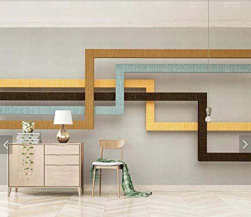 Natürlichem Leinen-finish (WORINA 3D Abstrakte Leinen Finish Geometrie Streifen Retro Luxus Tapeten Wandbild Wohnzimmer Leinwand Seidentuch Fototapete Große Größe, 350x245 cm (137,8 von 96,5 in))