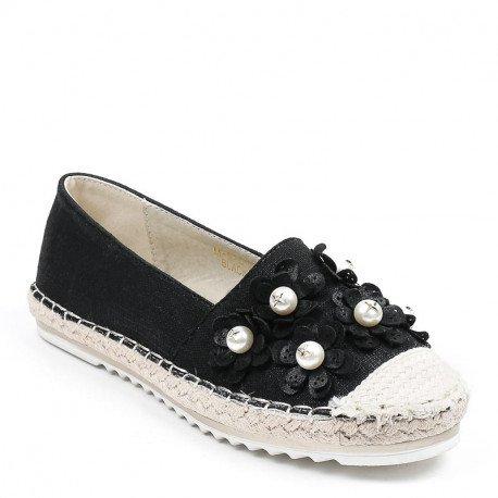 Ideal Shoes - Espadrilles en toile décorées de fleurs et perles Gemma Noir