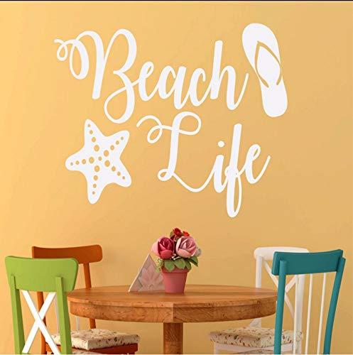 (Lvabc Strand Thema Flip Flops Starfish Wandaufkleber Für Ferienhaus Strand Decor Vinyl Wallpaper Decals Schlafzimmer Kunst Poster 57X39 Cm)
