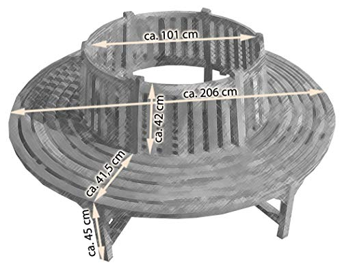 KMH® Baumbank mit Rückenlehne aus Teakholz - 4
