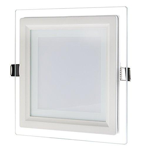 G.W.S® 12W bord en cristal LED panneau de lumière carré plafonnier encastré, trois couleurs intégrées blanc jour+blanc chaud+blanc neutre, transformateur LED inclus