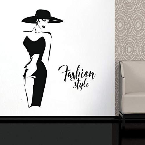 Mode Dame Modell Wll Vinyl Aufkleber Fenster Aufkleber Für Kleidung Boutique Mode Frau Mit Schwarzem Kleid selbstklebende Wandbilder a13 42x56 cm