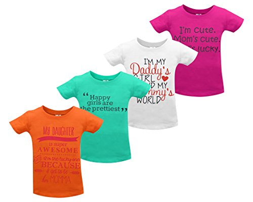 Little Lora Printed Round Neck Cotton TShirt for Girls - Pack of 4
