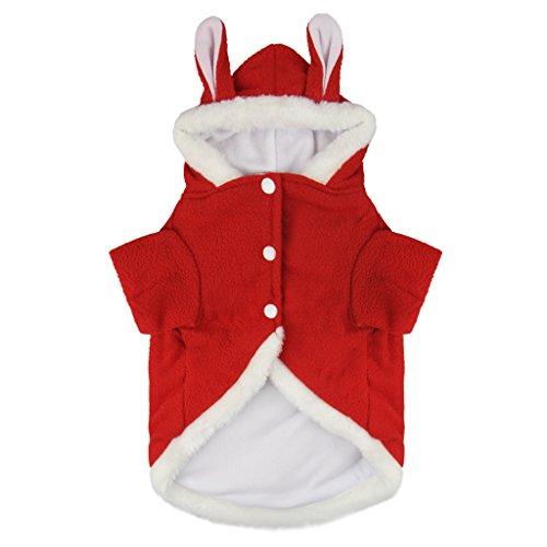 Hundemantel Hundekleid Super weich Fleece Hundejacke Hundepullover mit Kapuze in Kaninchen-Motiv Winter Herbst Hundebekleidung Weihnachten Hunde Kostüm Kleidung XS S M L (Nobbies Kostüme Halloween)