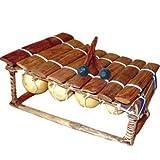 Kangaba H - Balafon con 8 lame e coppia di bacchette, colore: marrone