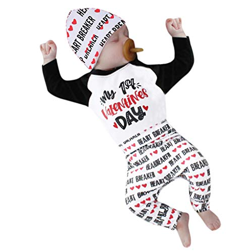 ung,Neugeborenes Säuglingsbaby Junge Mädchen Brief Strampler Tops + Hosen + Hut Set Valentine Outfits ()