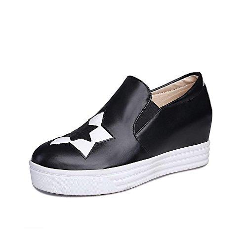 AllhqFashion Damen Pu Rund Schließen Zehe Mittler Absatz Gemischte Farbe Pumps Schuhe Schwarz