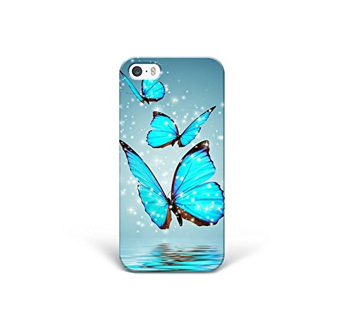 for iPhone 5 - iPhone 5s - iPhone SE - Phone Back Case Hard Cover Custom Personalised Trendy Style Present Modern Design Protective Plastic UK Brand Appfix Blue neon Butterfly Hipster