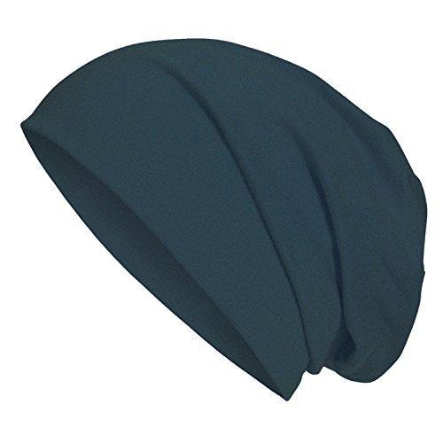 Jersey Mütze aus hautfreundlicher Baumwolle für Jugendliche Jungen Mädchen | Kopfumfang 53-57cm | dünner Sommer Beanie mit 5% Elasthan für perfekten Sitz auch beim Sport Heather Royal