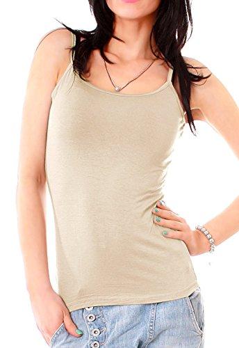 Damen Basic Spaghetti-Top Träger Top uni Hemdchen einfarbig Shirt one-size für Größe Gr 34 36 38 XS S M Beige