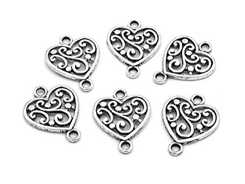 Vintageparts FACHHANDEL FÜR SCHMUCKZUBEHÖR Verbinder ALS Herz mit geschwungenem Design in antik Silber 6 Stück