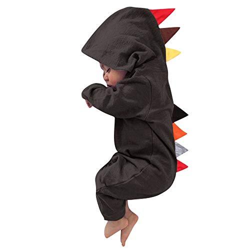 MRULIC Neugeborenes Baby Jumpsuit Outfit Dinosaurier Reißverschluss mit Kapuze Spielanzug Overall Outfit Kleidung Niedlicher Babyschlafsack Onesies Herbst und Wintermodelle(Braun,95-100CM)