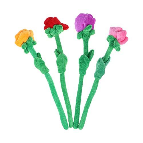 STOBOK 4 unids Flores Peluche Rosa Flor Peluche Juguete