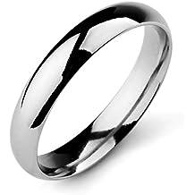 MunkiMix Ancho 4mm Acero Inoxidable Banda Venda Anillo Ring El Tono De Plata Alianzas Boda Hombre,Mujer