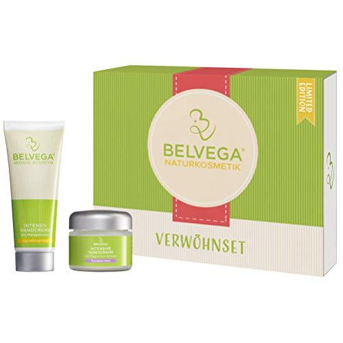 BELVEGA Geschenkset Gesichtscreme Tagescreme + Handcreme für Frauen und Männer (trockene Haut) Naturkosmetik vegan, ohne Parabene Kosmetik Geschenk Box für Freundin Geburtstag